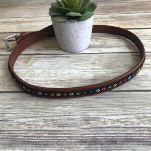 Accessories - Brown leather belt w/ black floral beaded detail.